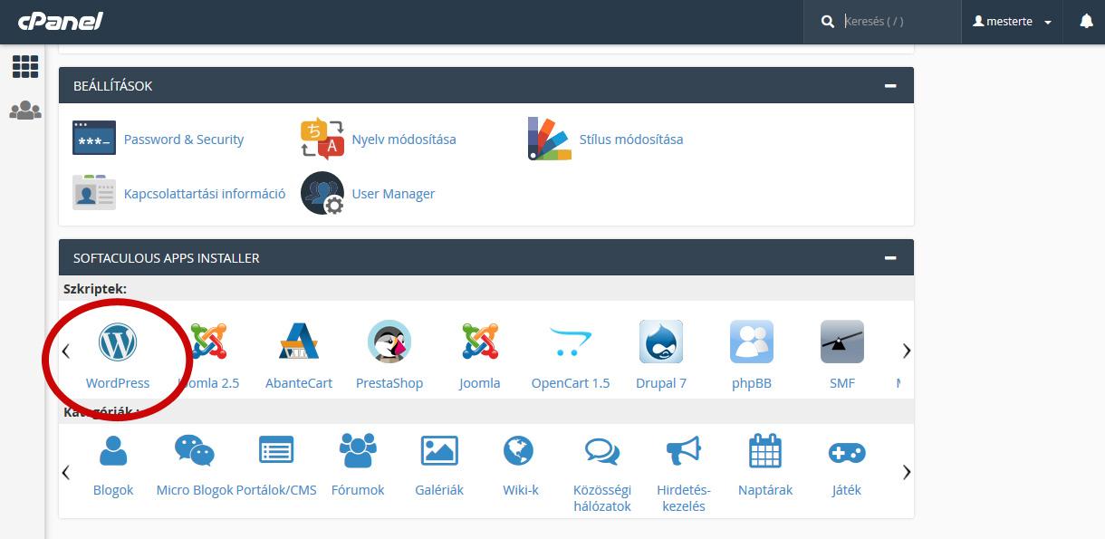 Wordpress telepítés a Softacolous Apps Installer segítségével