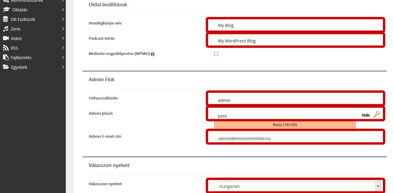 Wordpress telepítés beállítások 2