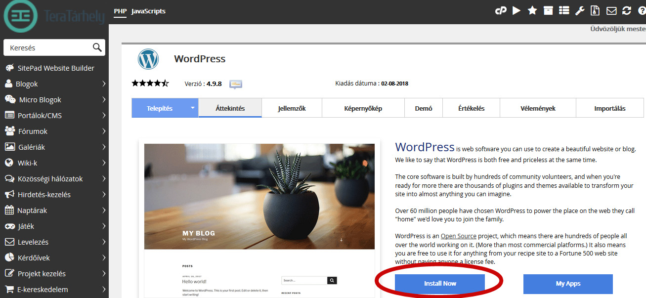 Wordpress telepítése install