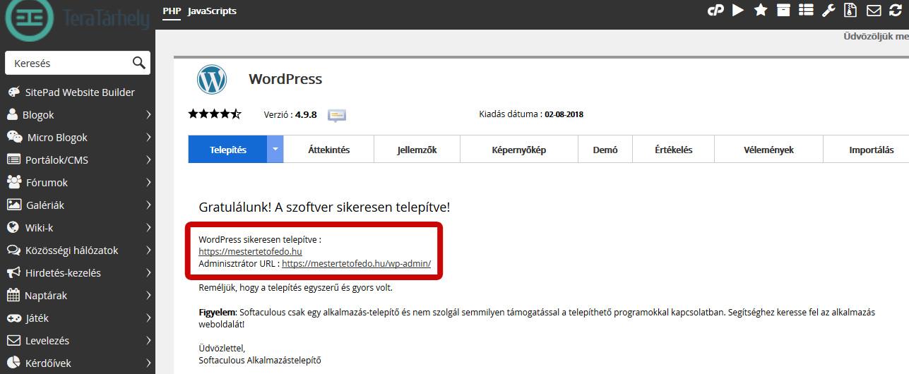 Wordpress telepítése kész