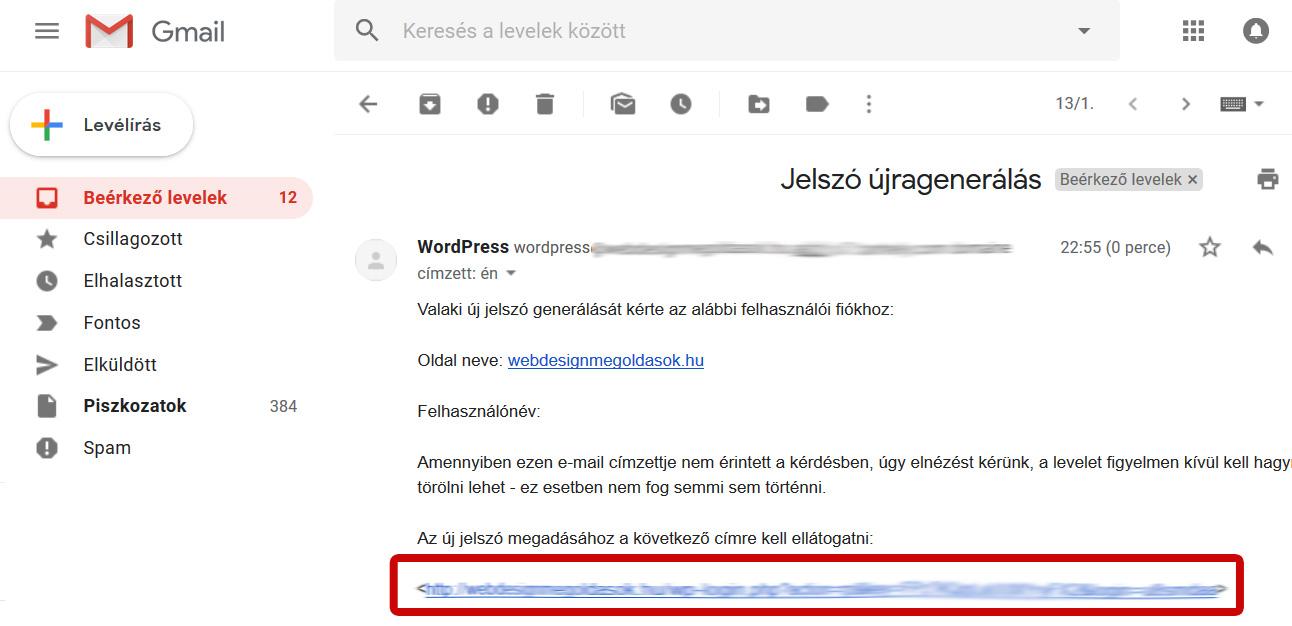 Wordpress lefelejtett jelszó link