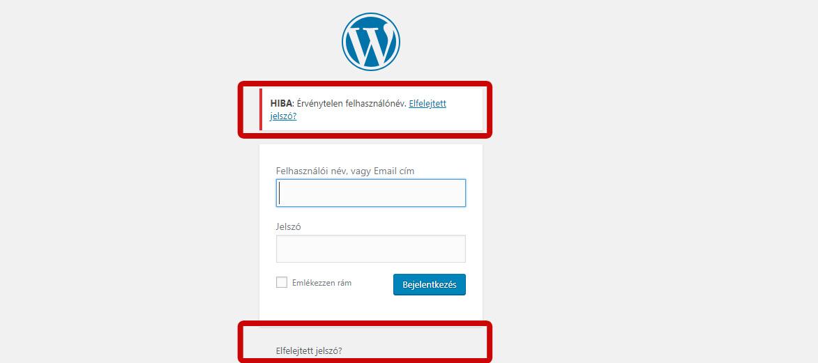 Wordpress elfelejtett jelszó